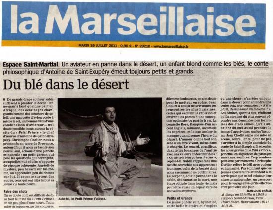 Le Petit Prince.La Marseillaise AVIGNON 2011