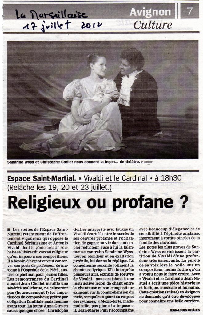 Vivaldi et le Cardinal, Avignon 2012